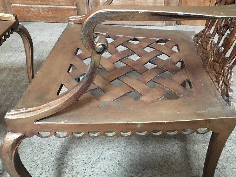 Cast Pair of Romanesque Garden Chairs For Sale
