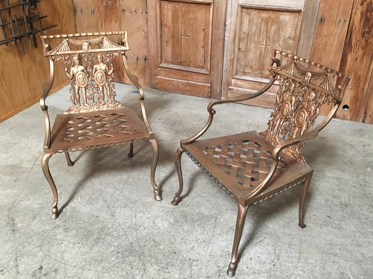Pair of Romanesque Garden Chairs In Good Condition For Sale In Laguna Hills, CA