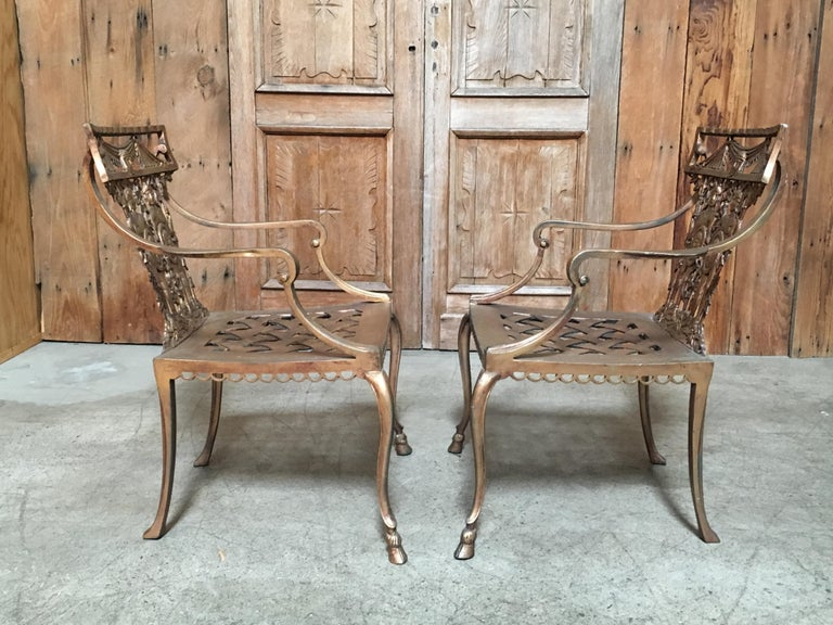 20th Century Pair of Romanesque Garden Chairs For Sale