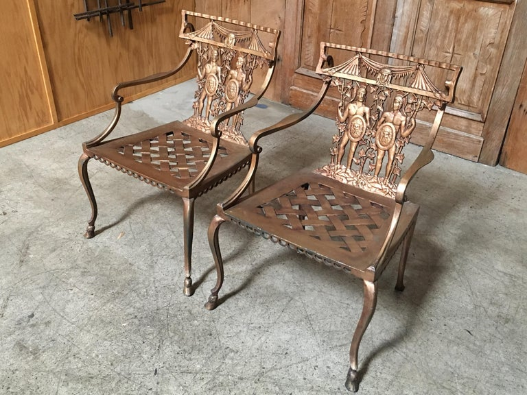 Pair of Romanesque Garden Chairs For Sale 1