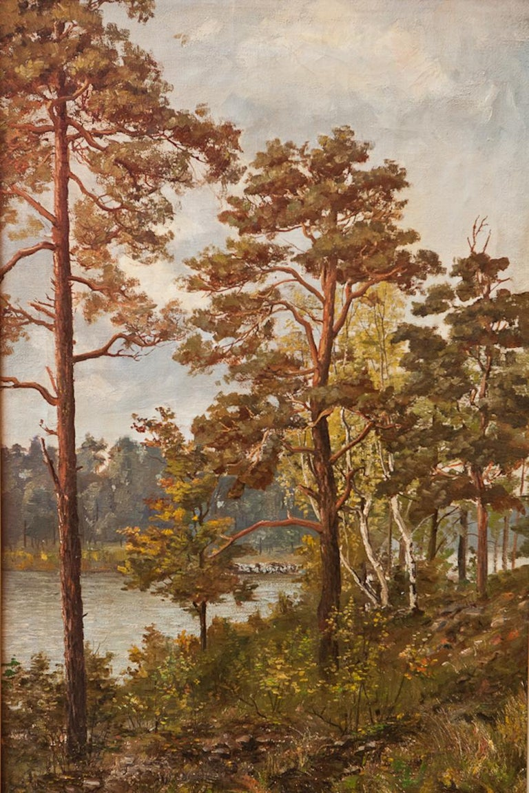Pair of decorative Scandinavian romantic landscapes, oil on canvas, set in a gilded frames, 19th century, Unsigned Measures: 23 1/4