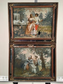 Pair Of Romantic Style Eglomise Paintings, 19th C.
