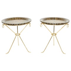 Pair of Romeo Paris Brass Straw Marquetry Guéridon Tables, 1970s