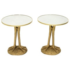 Pair of Romeo Paris Resin Ostrich Legs Gueridon Tables, 1970s