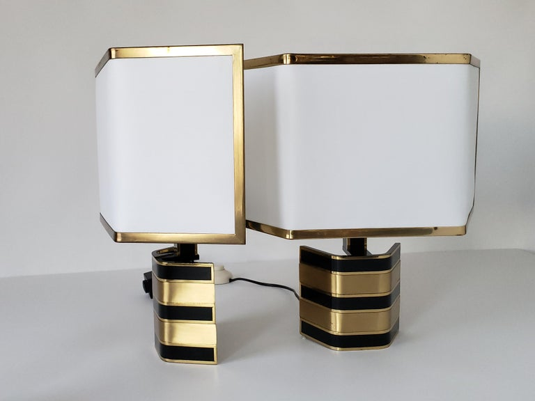 Mid-Century Modern Pair of Romeo Rega Solid Brass Table Lamp, 1970s, Italia For Sale