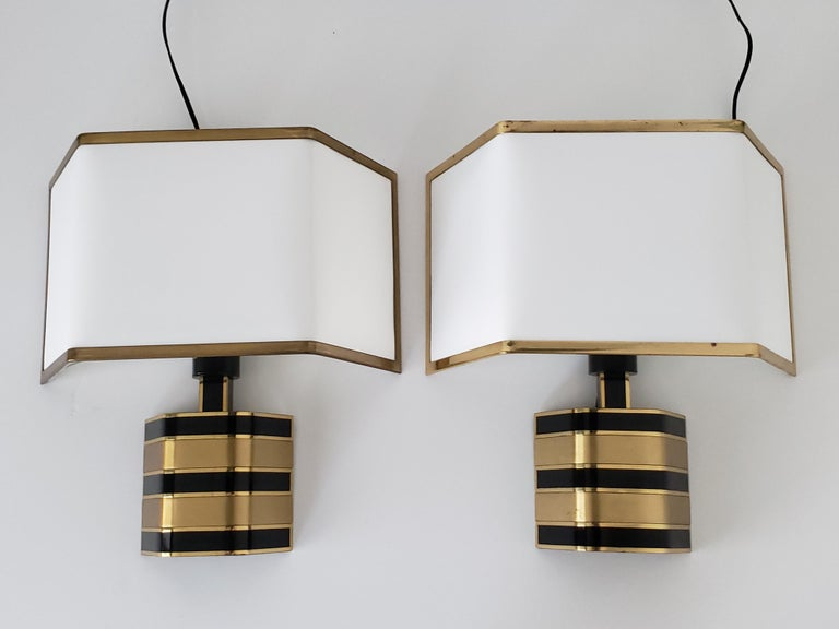 Pair of Romeo Rega Solid Brass Table Lamp, 1970s, Italia In Good Condition For Sale In St- Leonard, Quebec
