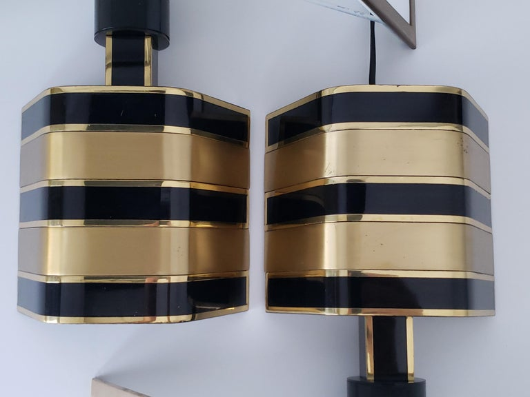 Pair of Romeo Rega Solid Brass Table Lamp, 1970s, Italia For Sale 1