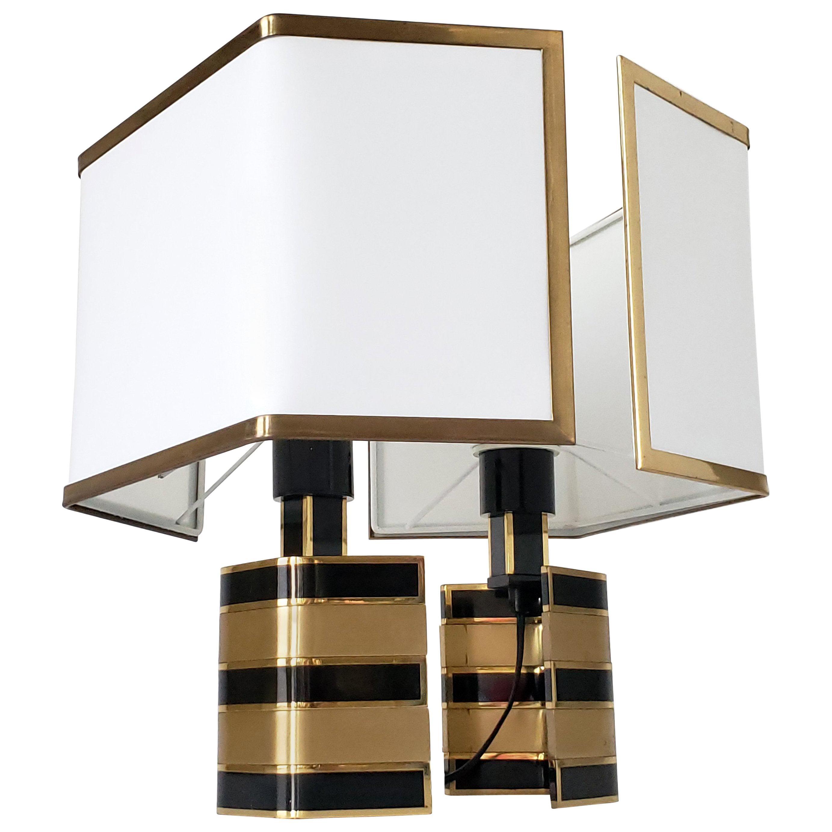 Pair of Romeo Rega Solid Brass Table Lamp, 1970s, Italia