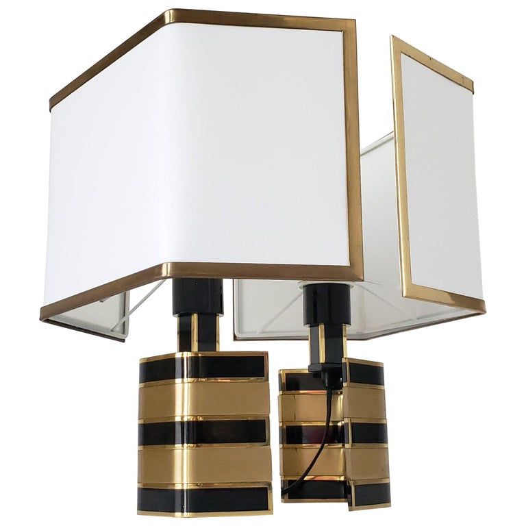 Pair of Romeo Rega Solid Brass Table Lamp, 1970s, Italia For Sale