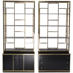 Pair of Romeo Rega Style Brass and Black Enamel Shelf Cabinets