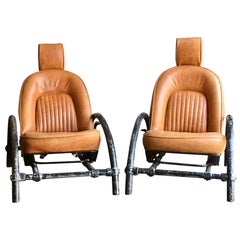 Pair of Ron Arad Rover chairs in tan leather