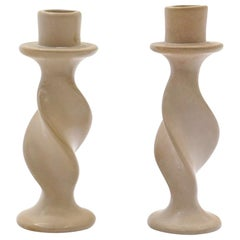 Pair of Rookwood Pottery Candlesticks, Off White / Ivory