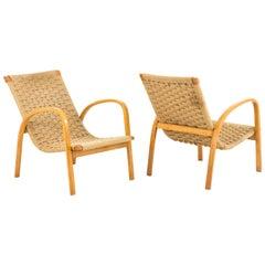 Pair of Rope and Blond Beech Armchairs, Scandinavian Design, circa 1960