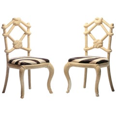 Pair of Rope Chairs from Viceroy Miami with Zebra Hide Upholstered Seats