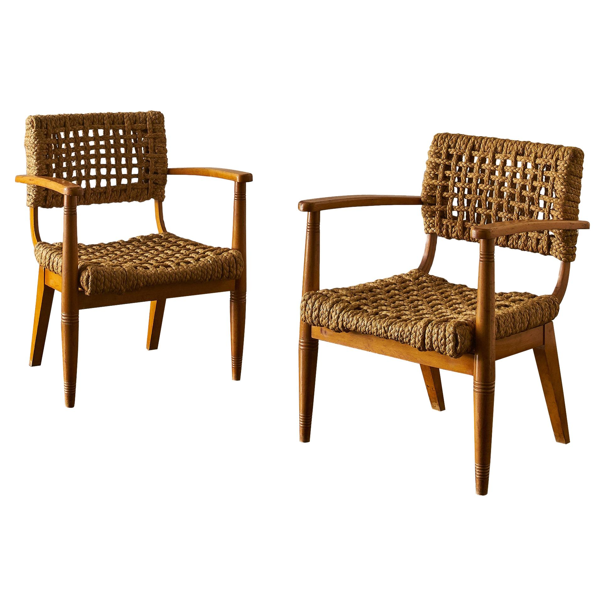 Pair of Rope Lounge Chairs by Adrien Audoux and Frida Minet