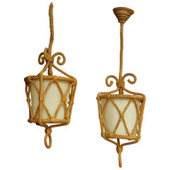 Pair of Rope Pendants by Audoux Minnet, France, 1960s