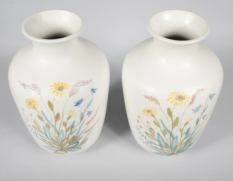 Mid-Century Modern Pair of Rörstrand Hand Decorated Vases For Sale