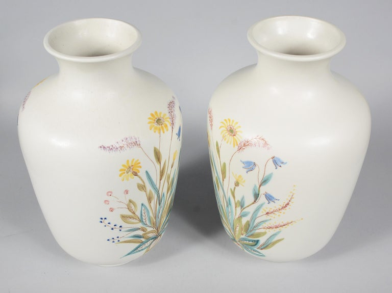 Swedish Pair of Rörstrand Hand Decorated Vases For Sale