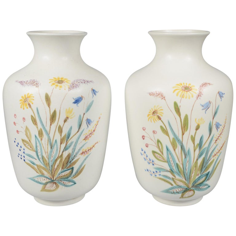 Pair of Rörstrand Hand Decorated Vases For Sale