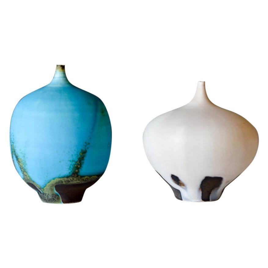 Pair of Rose Cabat Feelie Ceramic Vases