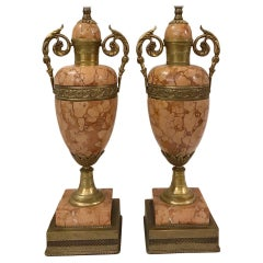 Pair of Rose Colored Marble and Bronze Table Lamps