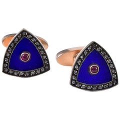 Pair of Rose Diamond, Ruby and Enamel Cuff Links by August Hollming for Faberge