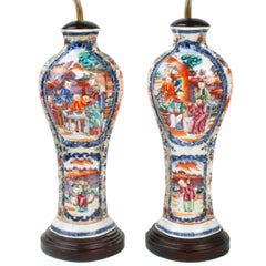 Pair of Rose Mandarin Chinese Export Vases Now as Lamps, c1800