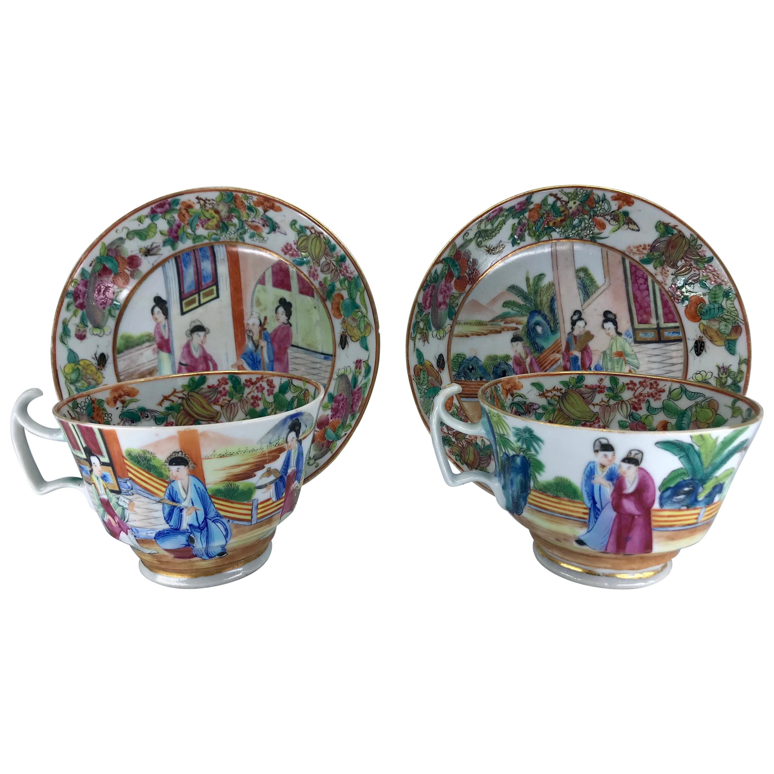 Pair of Rose Mandarin Chinese Porcelain Cups and Saucers