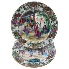 Pair of Rose Mandarin Chinese Porcelain Plates
