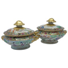 Pair of Rose Mandarin Chinese Porcelain Sauce Tureens