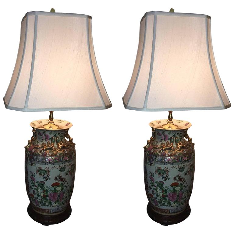 Pair of Rose Medallion Chinese Lamps with Silk Shades, 20th Century