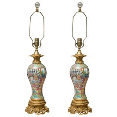 Pair of Rose Medallion Vases as Table Lamps