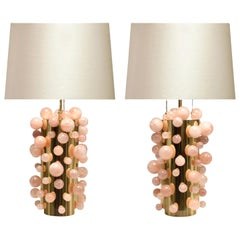 Pair of Rose Rock Crystal Bubble Lamps