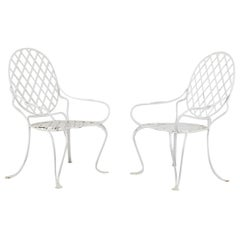 Pair of Rose Tarlow Faux Bois Twig Iron Garden Chairs