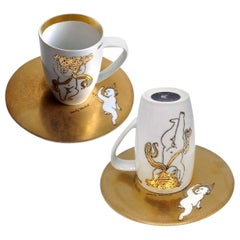 "Pair of Rosenthal Andy Warhol ""Golden Angels"" Latte Macchiato Cup Saucer, 1980"