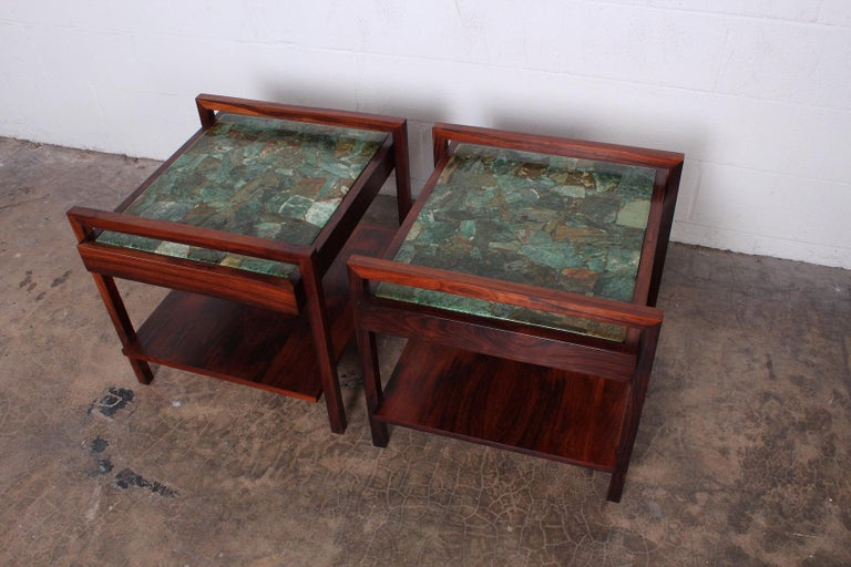 Mid-20th Century Pair of Rosewood and Agate Tables For Sale