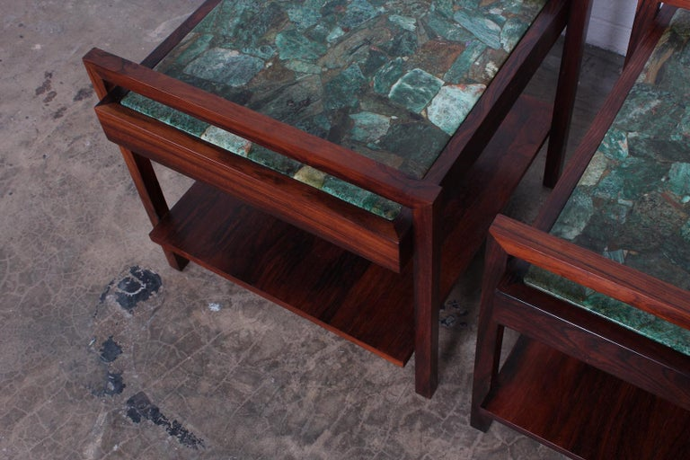 Pair of Rosewood and Agate Tables For Sale 5