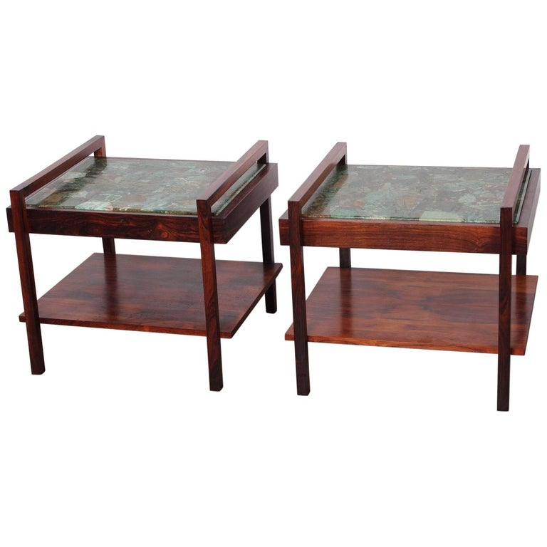 Pair of Rosewood and Agate Tables For Sale