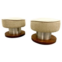 Pair of Rosewood and Aluminum Swivel Low Stools