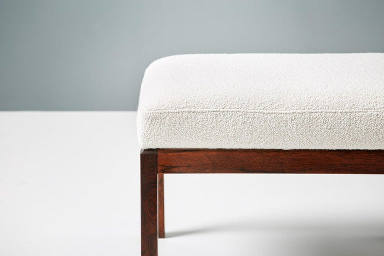 Scandinavian Modern Pair of Rosewood and Boucle Vintage Ottomans, circa 1960s For Sale