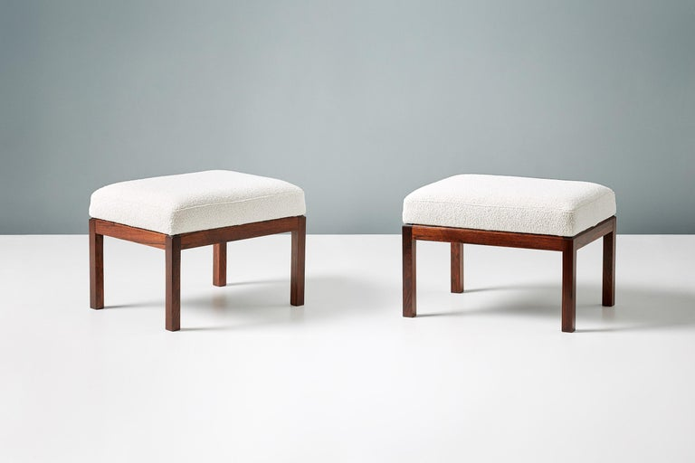 Pair of Rosewood and Boucle Vintage Ottomans, circa 1960s In Excellent Condition For Sale In London, GB