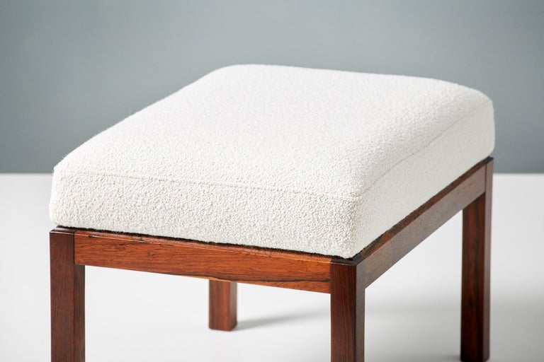 Mid-20th Century Pair of Rosewood and Boucle Vintage Ottomans, circa 1960s For Sale