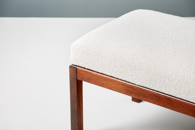 Pair of Rosewood and Boucle Vintage Ottomans, circa 1960s For Sale 1
