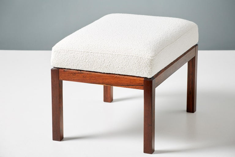 Pair of Rosewood and Boucle Vintage Ottomans, circa 1960s For Sale 2