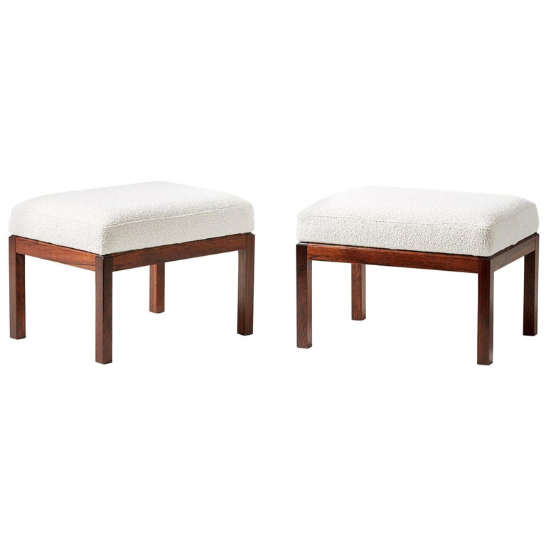 Pair of Rosewood and Boucle Vintage Ottomans, circa 1960s For Sale