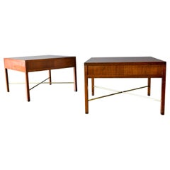 Pair of Rosewood and Brass X Base Side or End Tables, circa 1965