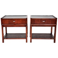 Pair of Rosewood and Cane Nightstands or Side Tables by Founders