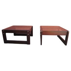 Pair of Rosewood and Glass Side Tables by Percival Lafer