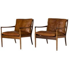 "Pair of Rosewood and Leather ""Samsö"" Lounge Chairs by Ib Kofod Larsen"