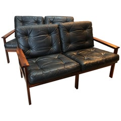 Midcentury Danish Pair of Rosewood and Leather Sofas by Illum Wikkelso